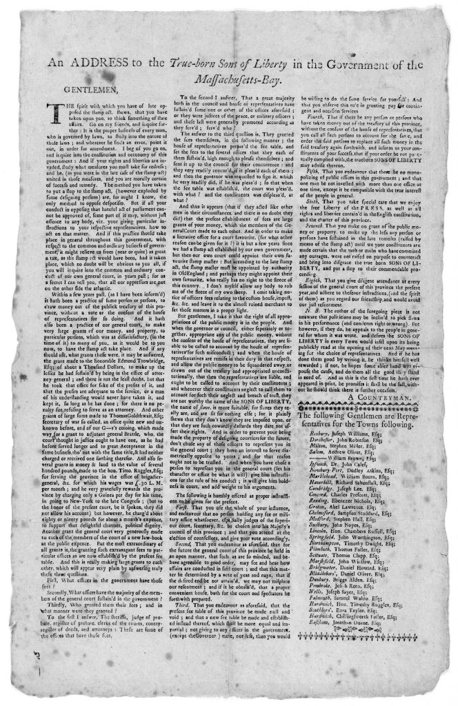 5.5.4 An address to the true-born sons of liberty in the government of the Massachusetts-Bay. [Signed] A Countryman. [1765]
