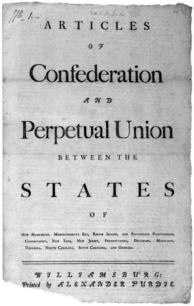 Articles of confederation and perpetual union between the states of New Hampshire, Massachusetts Bay, Rhode Island, and Providence plantations, Connecticut, New York, New Jersey, Pennsylvania, Delaware, Maryland, Virginia, North Carolina, South