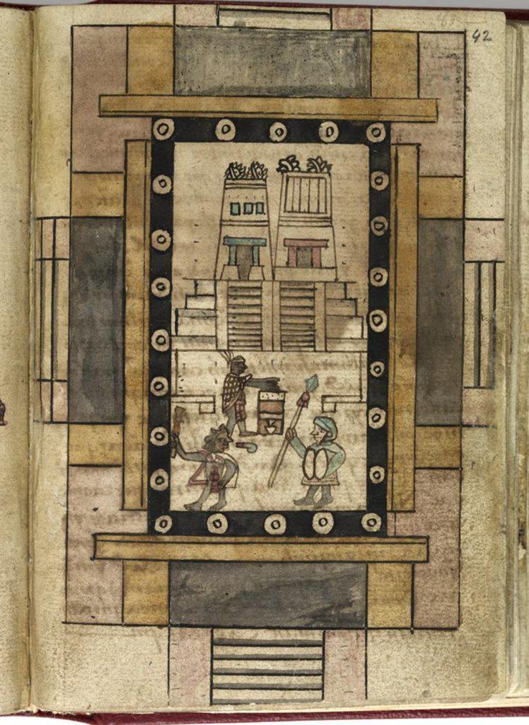 """""""Twin Temple at Tenochtitlan"""" in Codex Aubin (Folio 42)"""