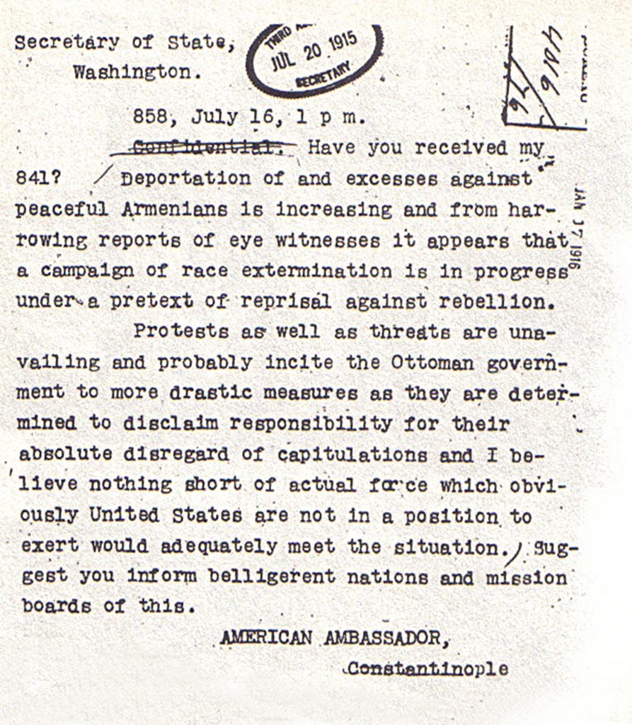 10.5.6 Ambassador Morgenthau's July 16, 1915 telegram to the U.S. Department of State referencing deportations of Armenians.