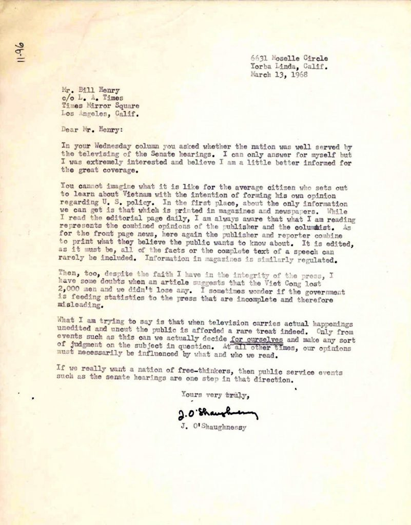 11.9.3 Letter from Los Angeles Times reader to Bill Henry, March 13, 1968