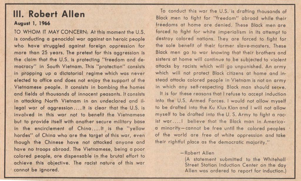 11.9.4 Letter from Robert Allen, August 1, 1966