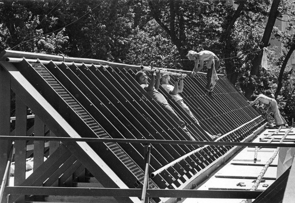 12E.1.7 Students preparing roof for solar panels