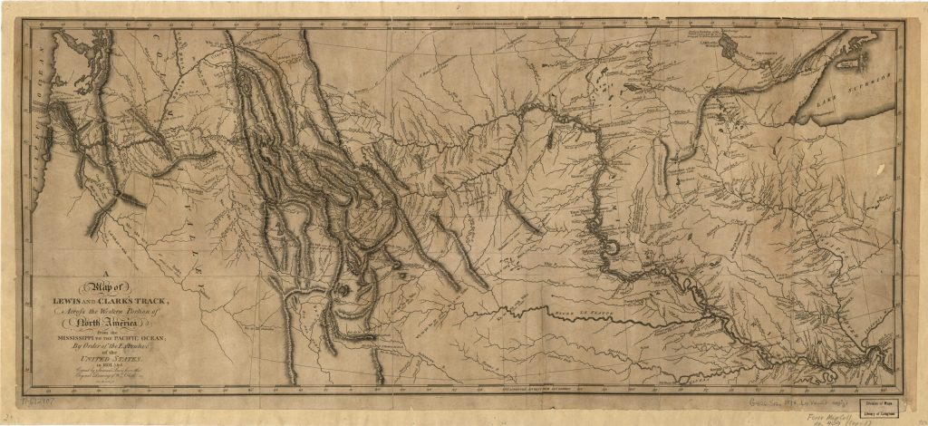 8.4-8.5.10 A Map of Lewis and Clark's Track, across the western portion of North America from the Mississippi to the Pacific Ocean: by order of the executive of the United States in 1804, 5 & 6