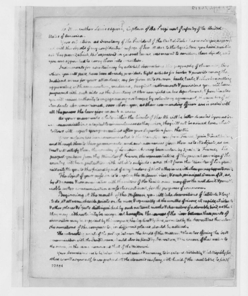 8.4-8.5.3 Thomas Jefferson to Meriwether Lewis, June 20, 1803, Instructions