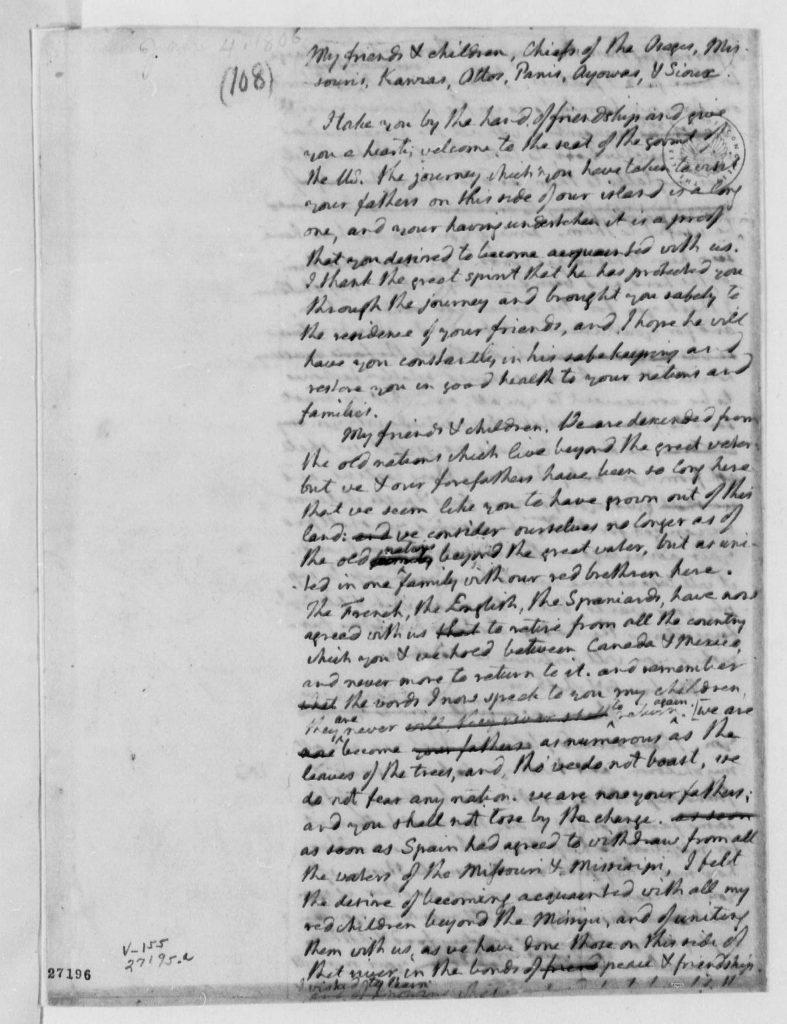 8.4-8.5.4 Thomas Jefferson to Osages Chiefs, et al, January 4, 1806, Address