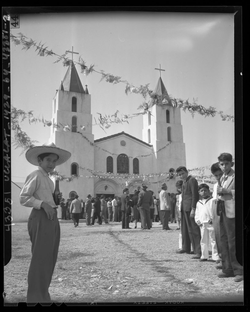 1.2.3 Mexican American children gathered outside Our Lady of Lourdes Catholic Church