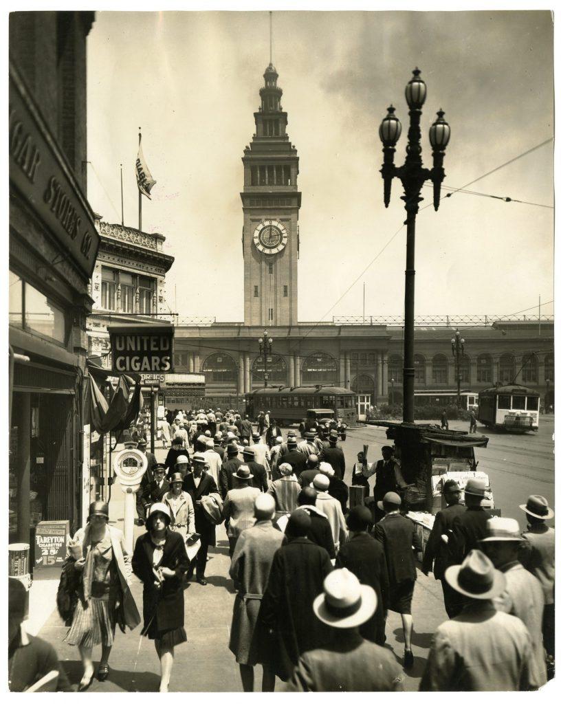 1.2.4 Commuters, foot of Market St., San Francisco, ca. 1927