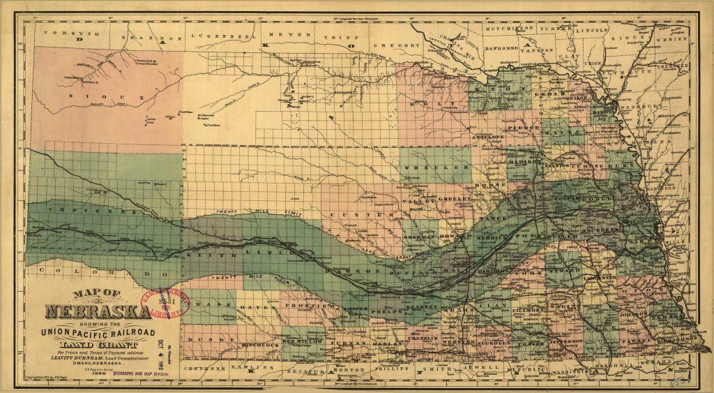 12E.3.2 Map of Nebraska Showing the Union Pacific Land Grant