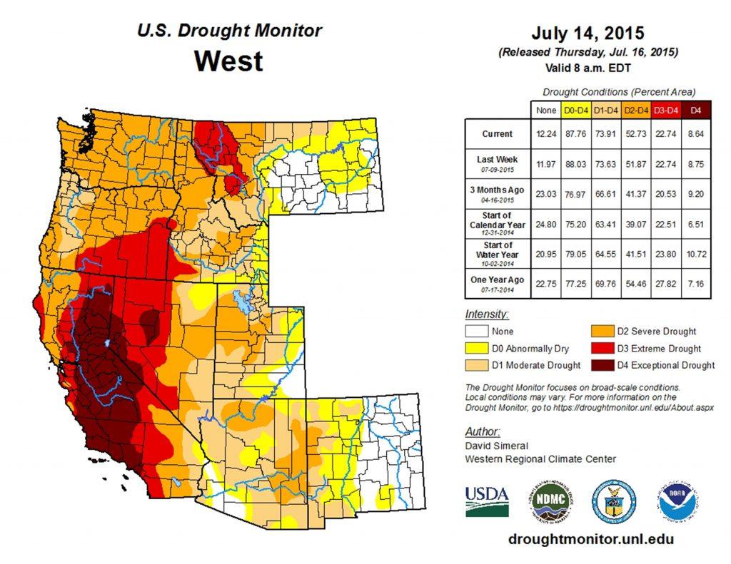 12E.3.9 U.S. Drought Monitor: West, July 15, 2014